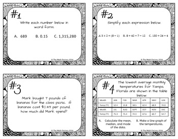 Middle School Math Mixed Review Task Cards