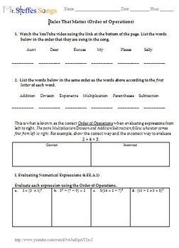 Middle School Math MrSteffesSongs Worksheet Bundle