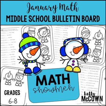 Middle School Math NO PREP Bulletin Board {January}