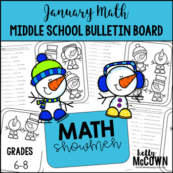 Middle School Math NO PREP Bulletin Board {January}