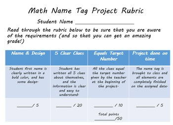 Middle School Math Name Tag Project
