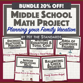 Middle School Math Project: Planning your Family Vacation Back to School 20% OFF