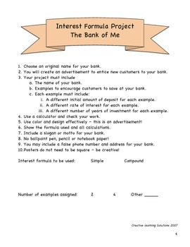 Middle School Math Project:The Bank of Me-Using Interest Formulas
