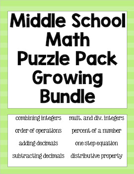 Growing Middle School Math Puzzle Pack