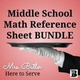 Middle School Math Reference Sheet BUNDLE