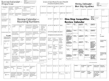 Middle School Math Review Calendars--BUNDLE