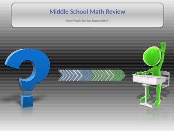Middle School Math Review Game