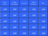 Middle School Math Review (Jeopardy)