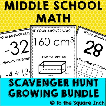 Middle School Math Scavenger Hunt Bundle