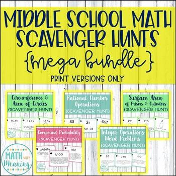 Middle School Math Scavenger Hunt Mega Bundle