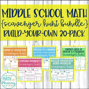 Middle School Math Scavenger Hunts Build-Your-Own Bundle: 20-Pack