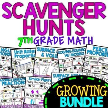 Math Scavenger Hunts for Middle School - Grade 7
