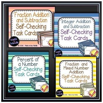 Middle School Math Self-Checking Task Card Bundle