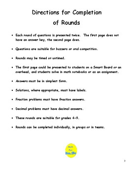 Middle School Math Short Rounds