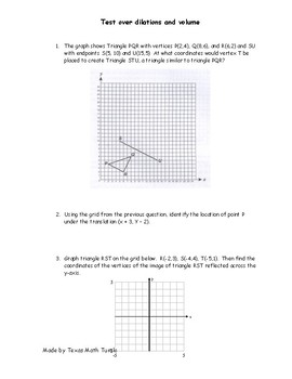 Middle School Math Station :Dilation and Volume