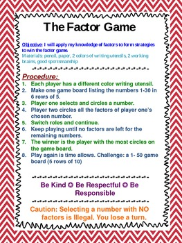 Middle School Math Station Games Set 1