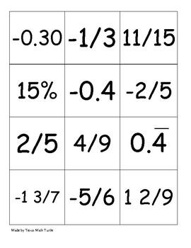 Middle School Math Station: Rational Number War