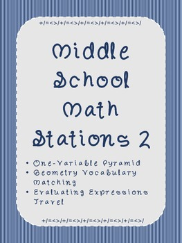 Middle School Math Stations 2: Skill Building Games for Math Centers