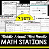 Middle School Math Stations Mini Bundle