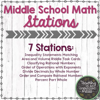 Middle School Math Stations-Inequality, Area, Volume, Order of Operations & more