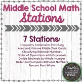 Middle School Math Stations-Inequality, Area, Volume, Orde