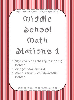 Middle School Math Stations: Skill Building Games for Math Centers