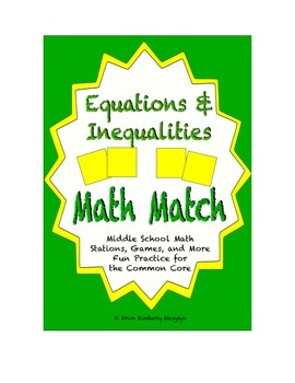 Common Core Math Stations and Games - Inequality and Equation Math Match