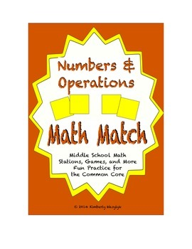 Common Core Math Stations and Games - Numbers and Operations Math Match