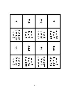 Common Core Math Stations and Games - Pythagorean Theorem Dominoes