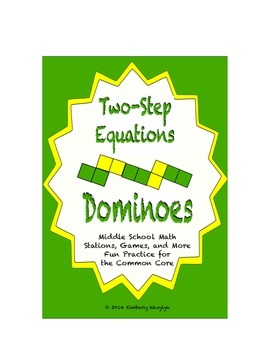 """Common Core Math Stations and Games - """"Dominoes"""" Two-Step Equations"""