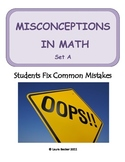 Middle School Math ~ Students Fix Math Mistakes/Errors Set A