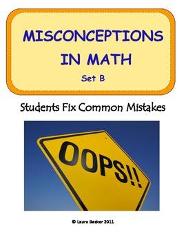 Middle School Math ~ Students Fix Math Mistakes/Errors Set B