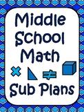 Middle School Math Substitute Plans
