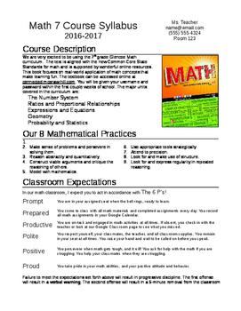 Middle School Math Syllabus (Editable)