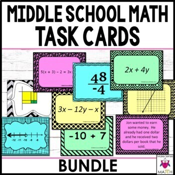 Middle School Math Task Card Bundle (Over 1000 Cards)