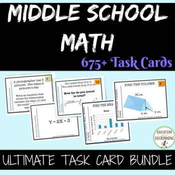 Middle School Math Task Card Bundle  SAVE 85 PERCENT INTRODUCTORY PRICE