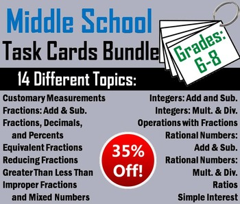 Math Task Cards 6th Grade to 8th Bundle: Ratios, Fractions, Integers, etc.