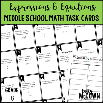 Middle School Math Task Cards: Expressions & Equations {Grade 8: Set 1}