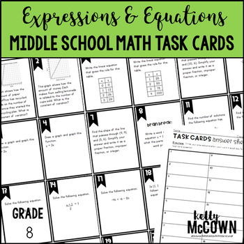 Middle School Math Task Cards: Expressions & Equations {Grade 8: Set 2}