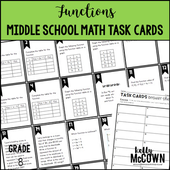 Middle School Math Task Cards: Functions {Grade 8: Set 4}