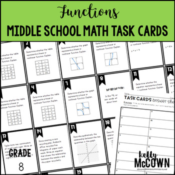 Middle School Math Task Cards: Functions {Grade 8: Set 5}
