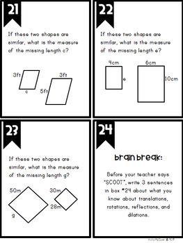 Middle School Math Task Cards: Geometry {Grade 8: Set 6}