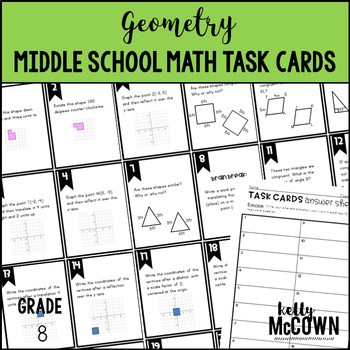 Middle School Math Task Cards: Geometry {Grade 8: Set 6}
