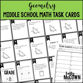 Middle School Math Task Cards: Geometry {Grade 8: Set 7}