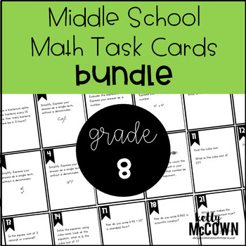 Middle School Math Task Cards: Grade 8 BUNDLE