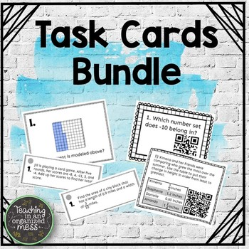 Middle School Math Task Cards--Growing Bundle