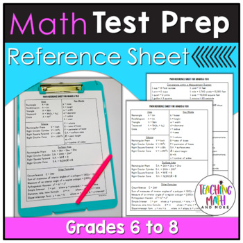 Middle School Math Test Prep Reference Sheet - Grades 6 to 8 by ...