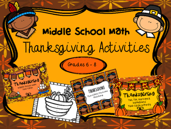 Thanksgiving Math Activities for Middle School