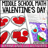 Middle School Math Valentine's Day Activities