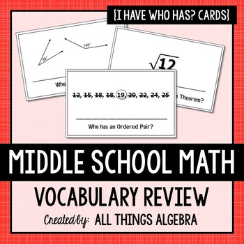 Middle School Math Vocabulary Review - I Have, Who Has Activity